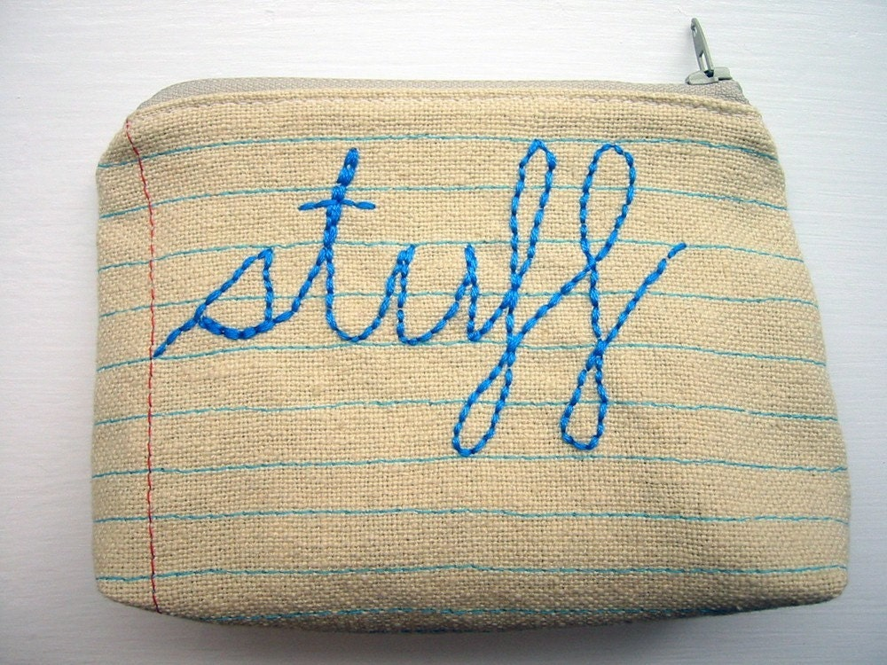 Zipper Pouch-Stuff-Hand Embroidered and Machine Stitched