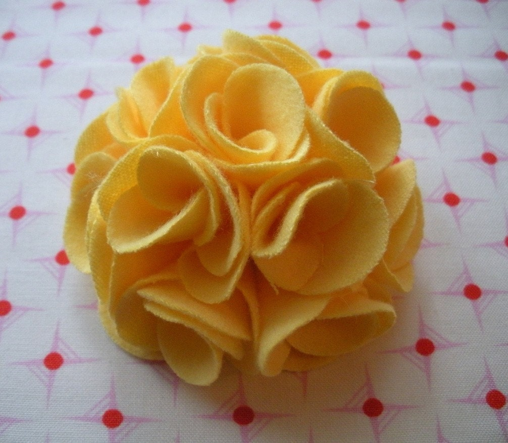 Yellow puff flower pin and alligator clip