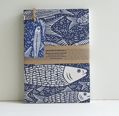 Hand-printed recycled Journal - InkyprintsOriginals