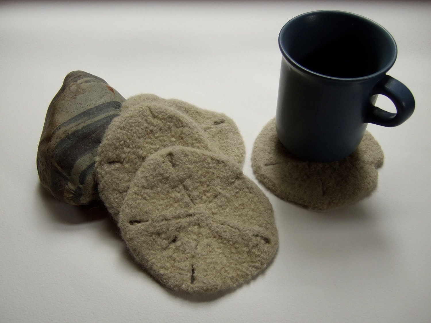 Sand Dollar Felted Wool Coasters: Coastal Maine Beach Nature Inspired - FluffAndBurl