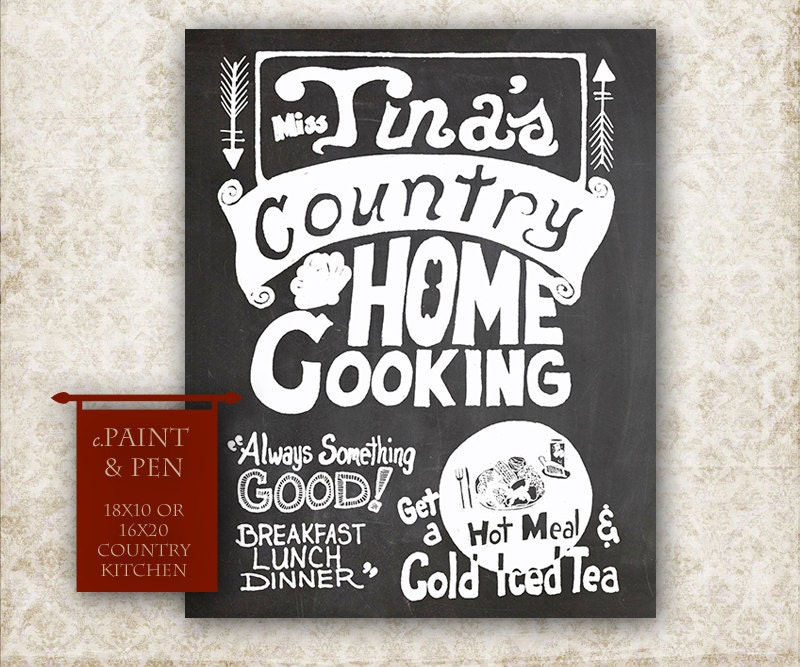 Personalized Country Kitchen Chalkboard 16x20 by PAINTandPEN