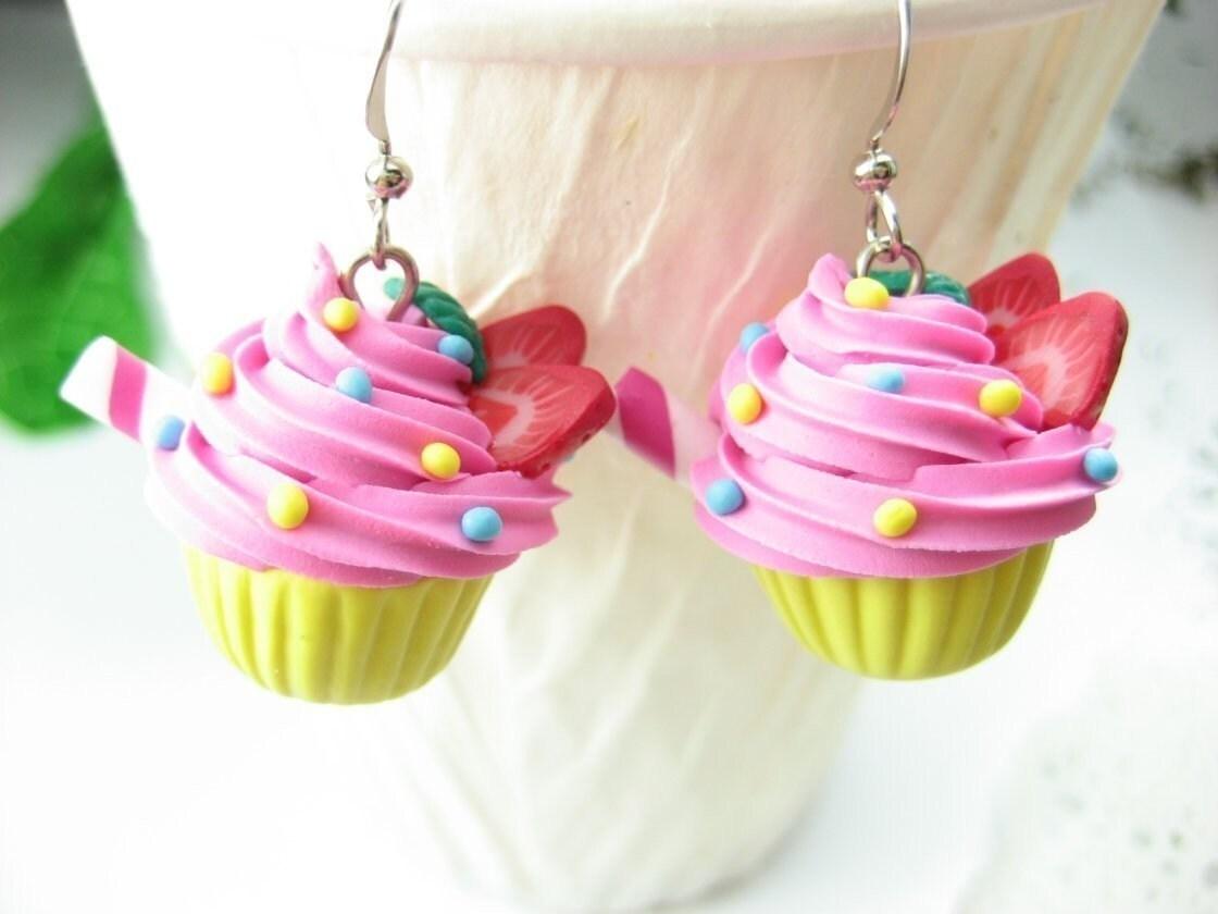 Strawberry Swirl Cupcake Earrings