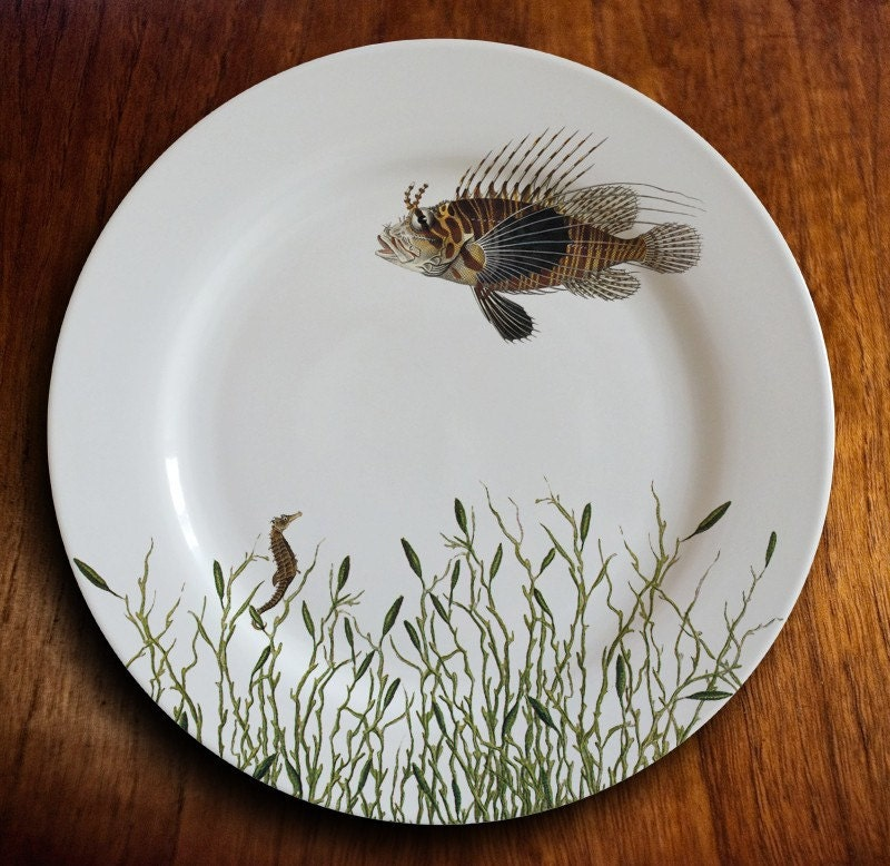 Large Porcelain Dinner Plate with Unique Fish Design