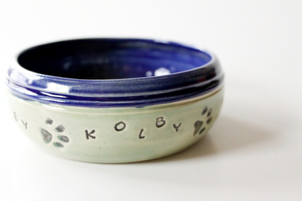 Pet Bowl, Dog Food  Bowl, Custom Name Custom Color, Made to order - MissPottery