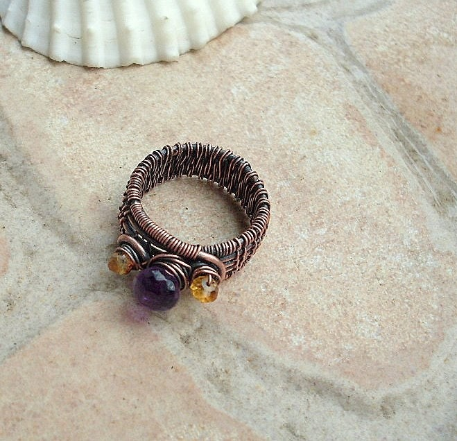 Amethyst Woven Ring in Copper with Citrine