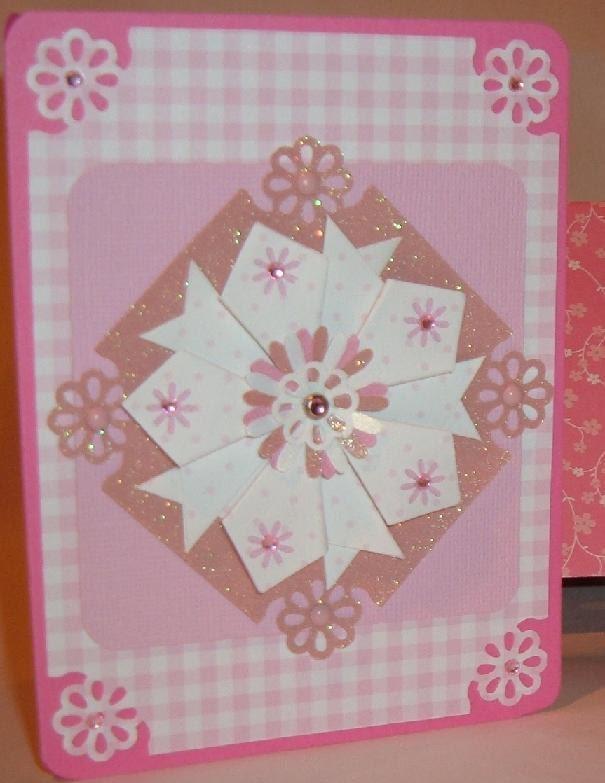 3d pink card tea bag folded flower pink rose white blank