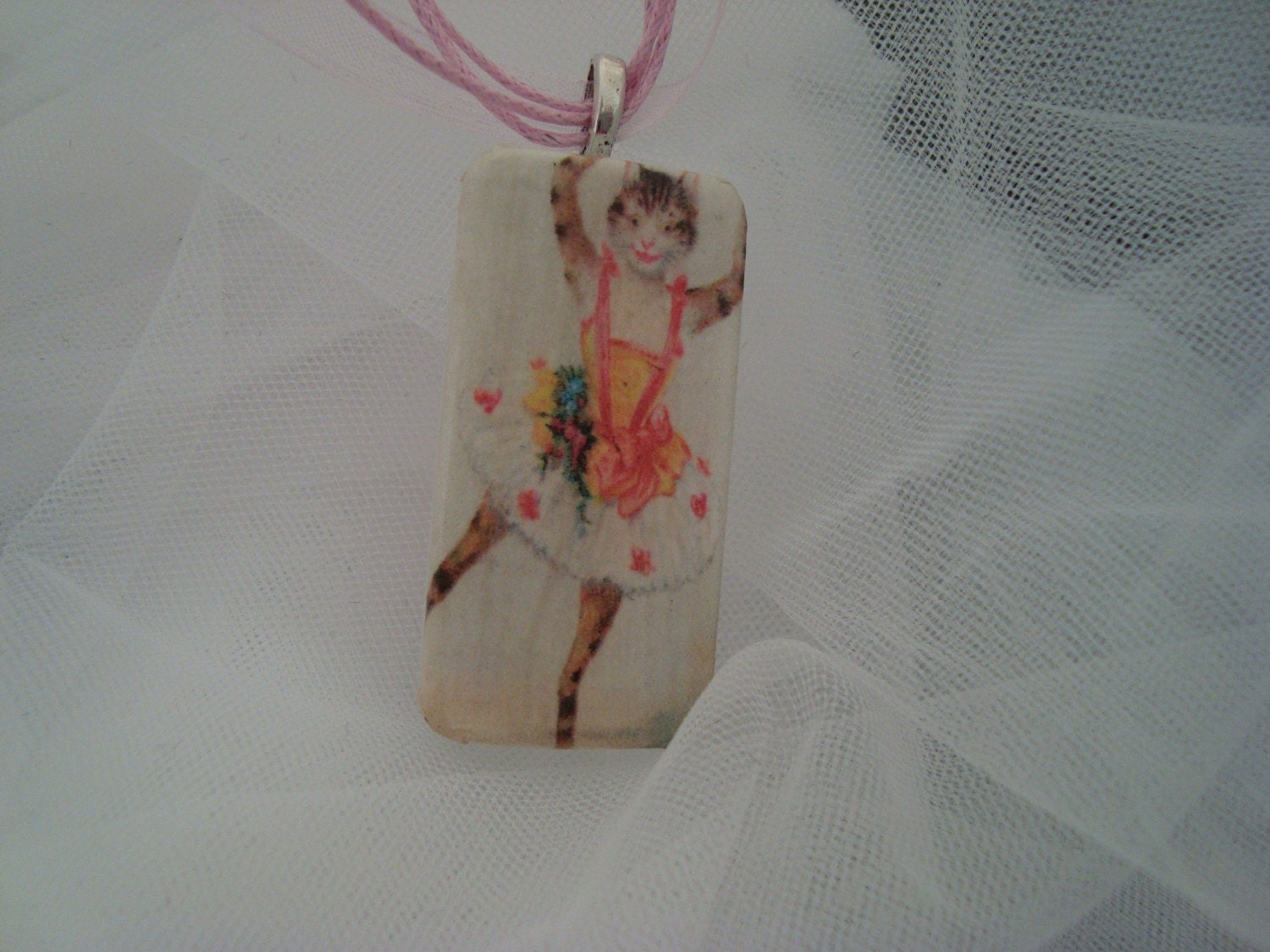 Ballerina Kitty Cat Recyled Domino Tile Pendant WITH FREE RIBBON NECKLACE