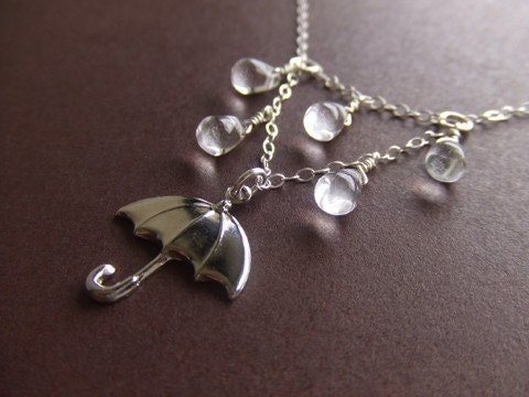 RAINY DAY WITH MY UMBRELLA silver necklace