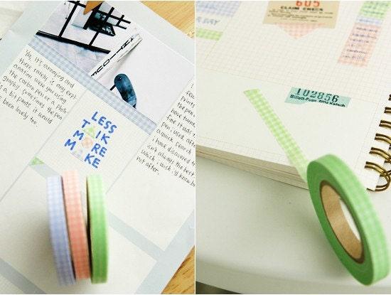 7mm Check Pattern masking tape - 3set (7mm )