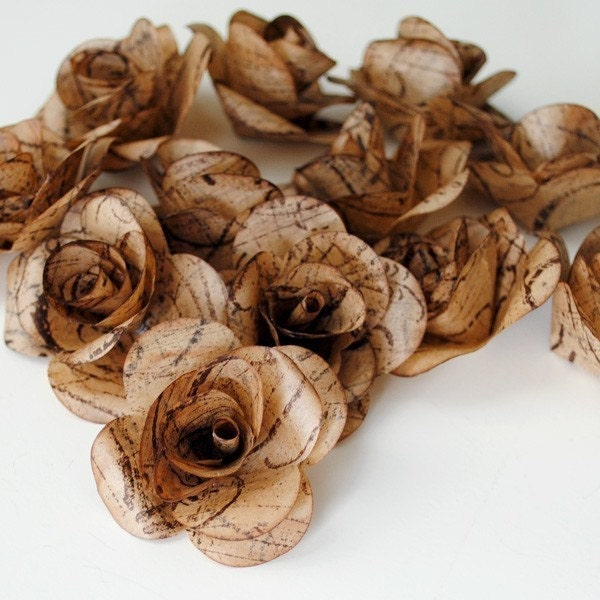 12 Handmade UPCYCLED Paper ROSES