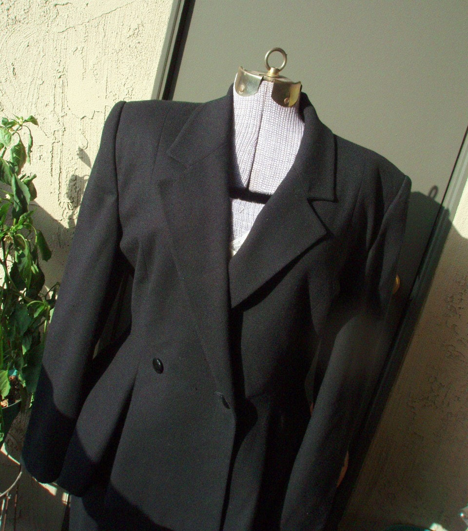 Vintage Suit - Black Wool Crepe, 40s Style