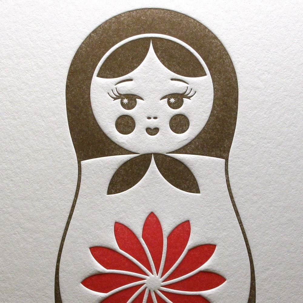 Letterpress Matryoshka (Nesting Doll) Card in Brown and Red