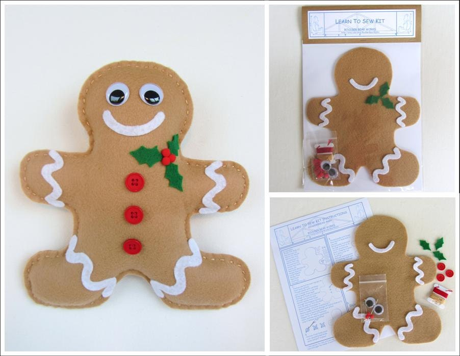 Holiday Learn to Sew Kit for Kids - Gingerbread Man - BoulderBearWorks