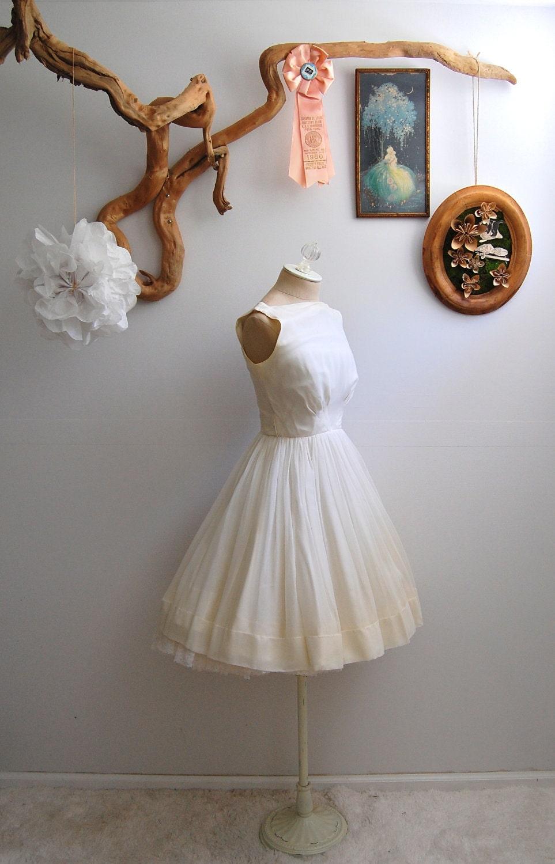 The Paige- Vintage 1950s White Chiffon Party Dress