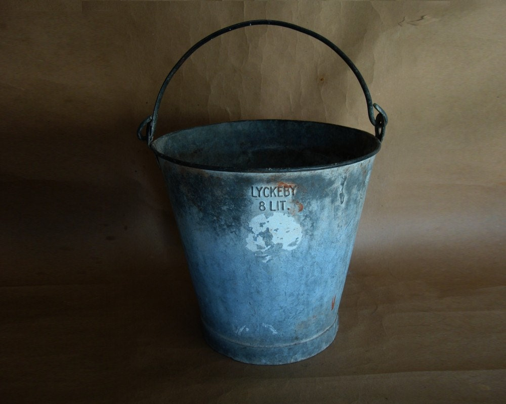 Industrial Bucket Zinc Galvanize Steel Bucket Vintage - 1940s 1950s LYCKBEY - JBHoffmantwo