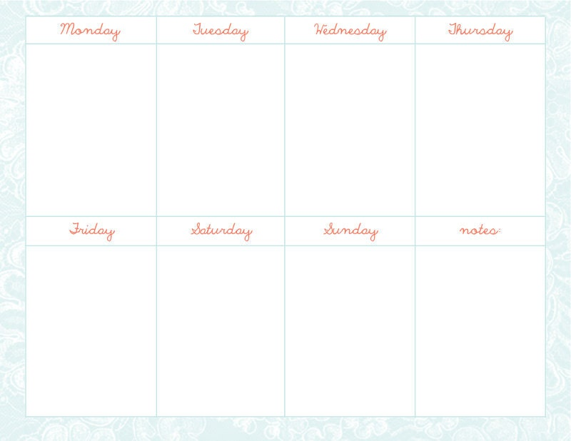 "Cute Weekly Calendar Printable : Search results for ""cute weekly calendar template"