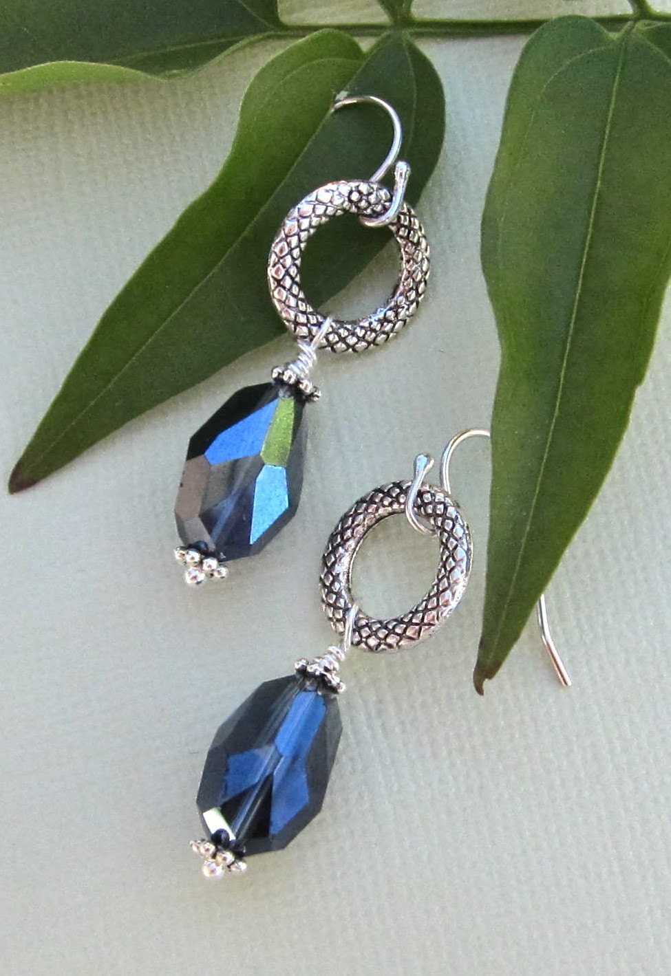 Sapphire Earrings with Textured Circles
