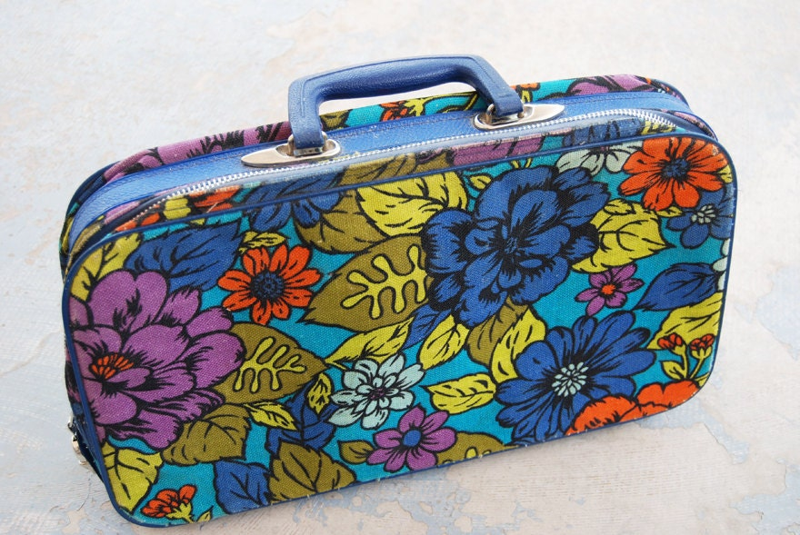 vintage 60s Bright Flower Power Childs Canvas Suitcase