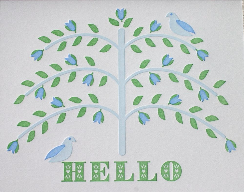 hello tree (blue) greeting card