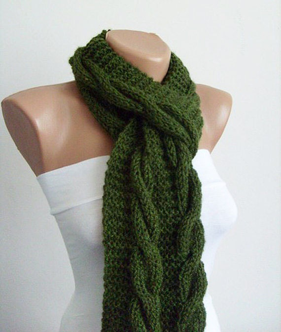 Cable Knit Scarf Hand Knit Scarf Mens Scarf Womens by KnitsbyVara