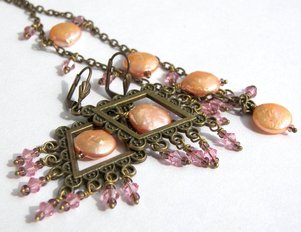 Vintage Peach Pink Flapper Jewelry Chandelier Earrings Necklace Set - LunaEssence