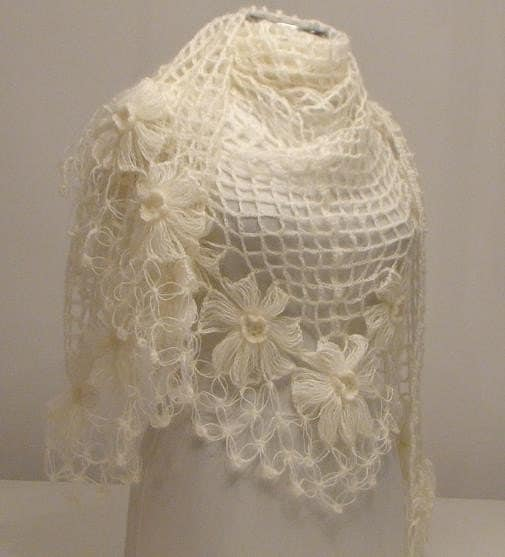 Ivory Flower Mohair Triangle Shawl