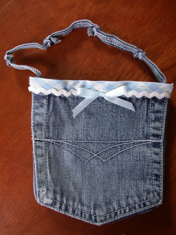 Blue embellished denim pocket purse