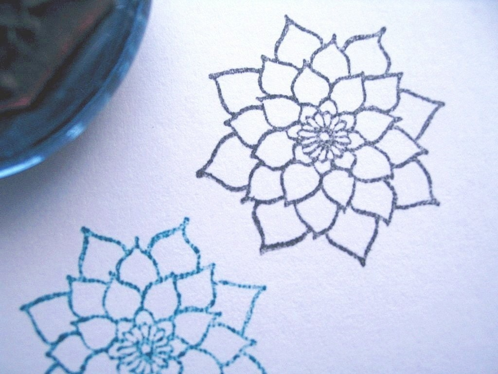 Dahlia flower rubber stamp photopolymer handmade by for How to draw a cute flower