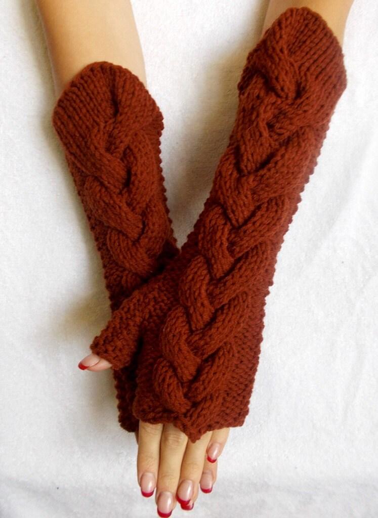 Knitting Pattern Fingerless Gloves Chunky Wool : Items similar to Chunky Fingerless Gloves Knit Arm Warmers ...