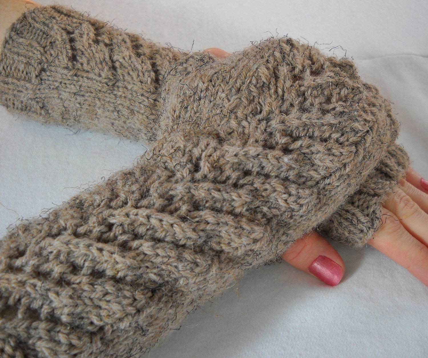 Lacy Fingerless Mittens // CHOOSE YOUR COLOR // Shown in Mushroom Brown - yarncrazygirl