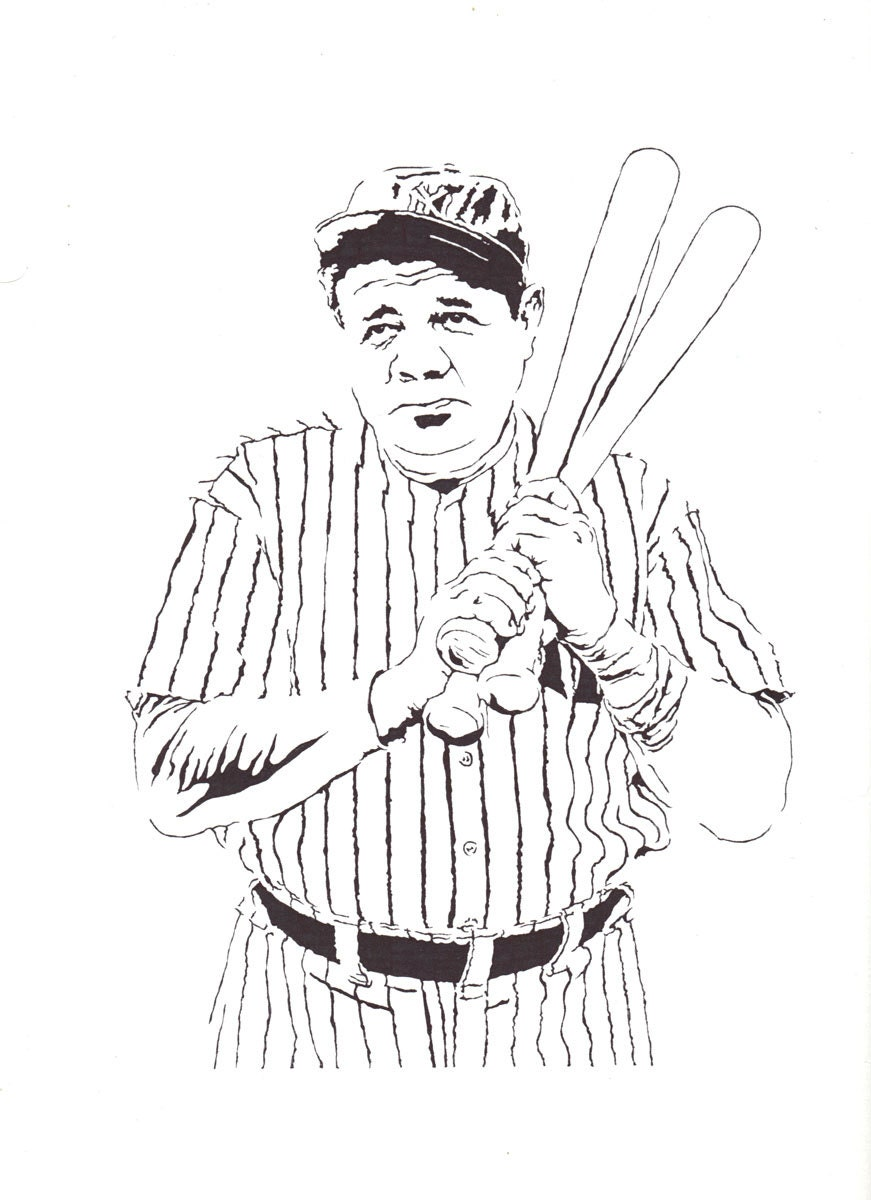 Beautiful Babe Ruth Baseball Coloring Page Sketch Coloring Page