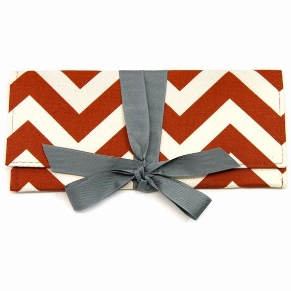 Rust chevron stripe with gray ALEXIS Clutch