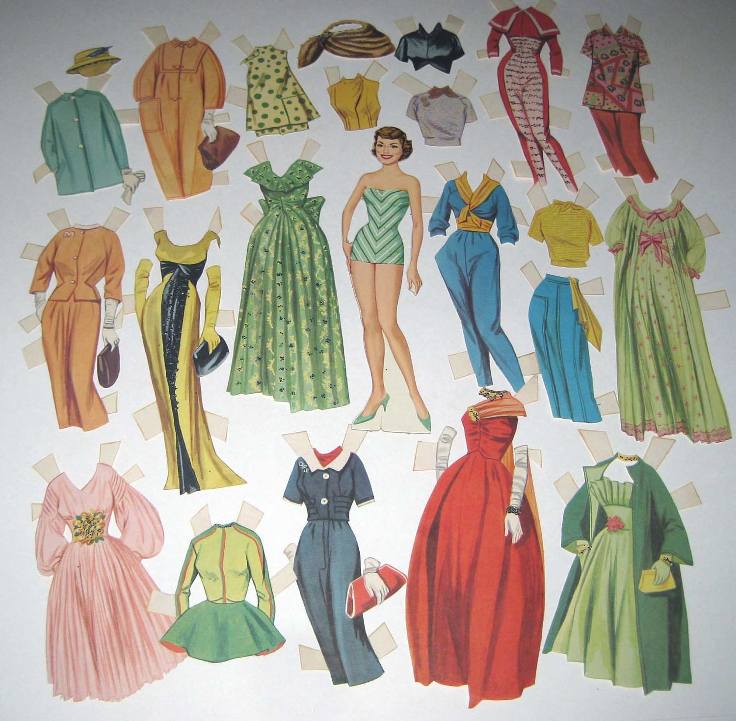 Vintage 1950s Paper Doll of Pretty Woman with Outfits Some with Glitter - grandmothersattic