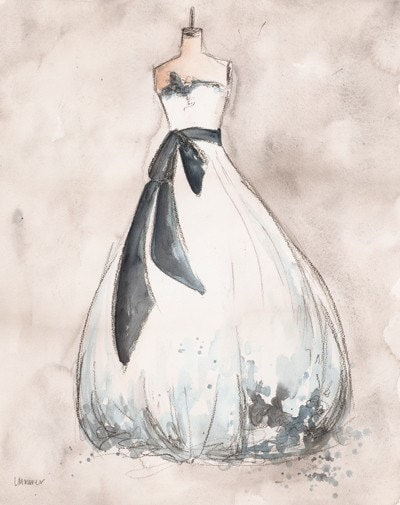 Original - Watercolor and Charcoal Painting - Custom Wedding Dress Painting - 8x10