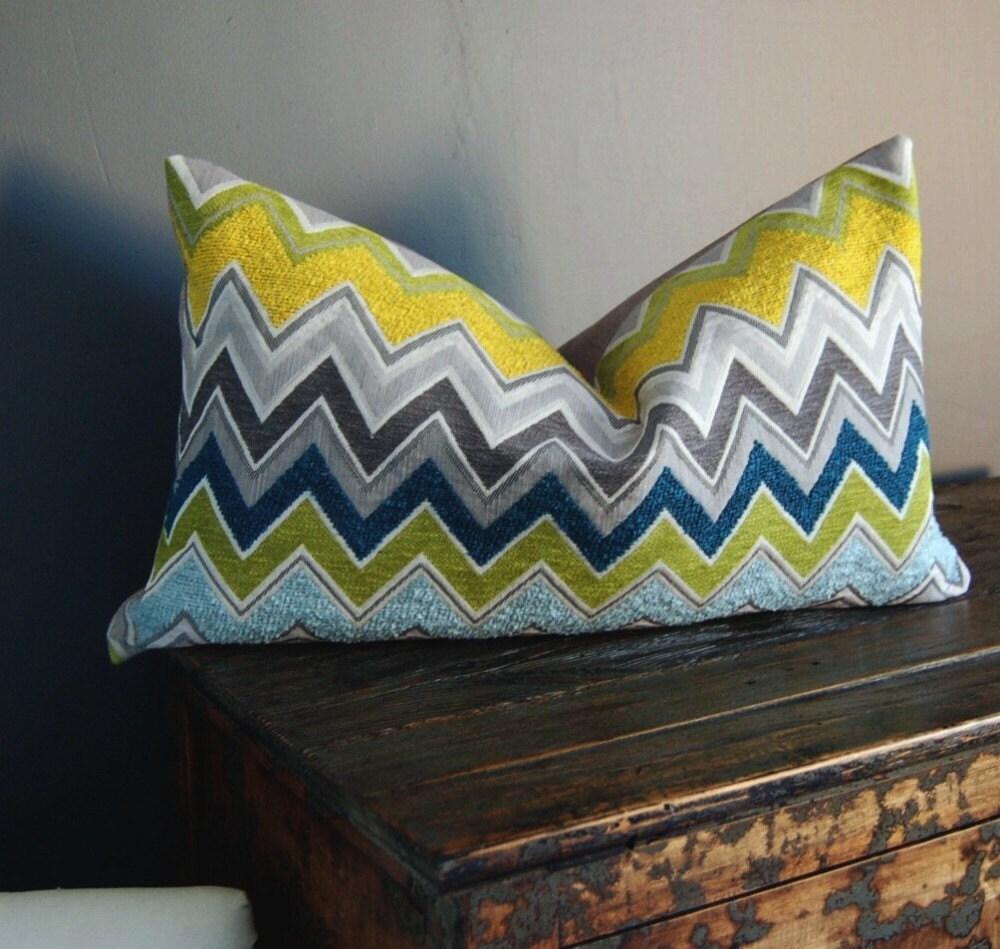 Schumacher Zenyatta Mondatta lumbar pillow in Peacock
