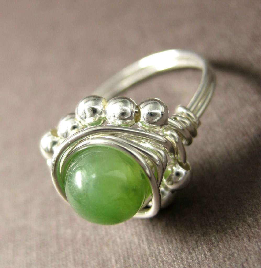 Jade Ring Wire Wrapped Sterling Silver Princess - holmescraft