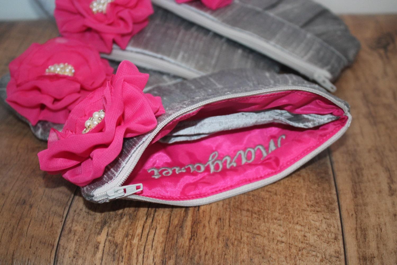 Bridesmaid Clutch Purse  Perfect Bridesmaid Gift   Grey Clutch Purse  Stardust Flower Brooch  Personalised Clutch Purse  Custom Clutch