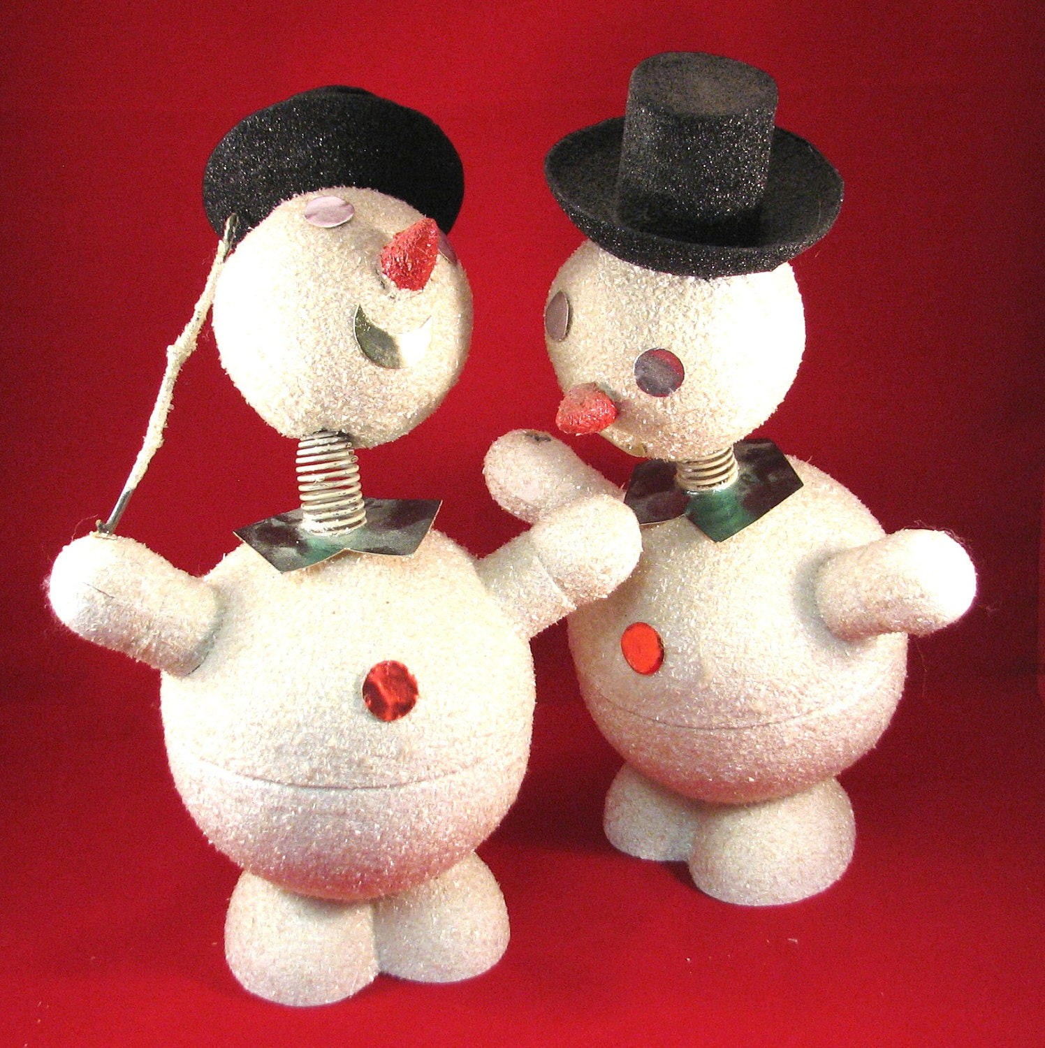 Vintage Bobble Head Snowmen Candy Containers - VintageCreekside