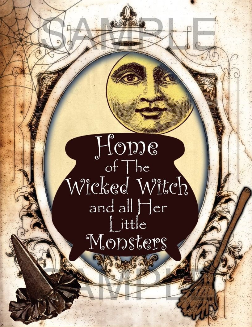 Home of the WiCkEd WiTcH and Her Little Monsters Burlap Feed Sacks Canvas Pillows Towels greeting cards - U Print JPG 300dpi