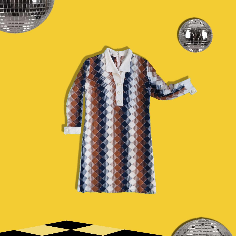 Vintage 70s Knit Dress  Argyle Pattern Dress  Retro Long Sleeves Dress  Knit Shirt Dress Shift Dress  Earth Tone  M Medium L Large