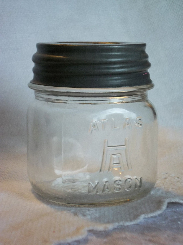 Rare Half Pint Vintage Hazel Atlas H Over A Mason By