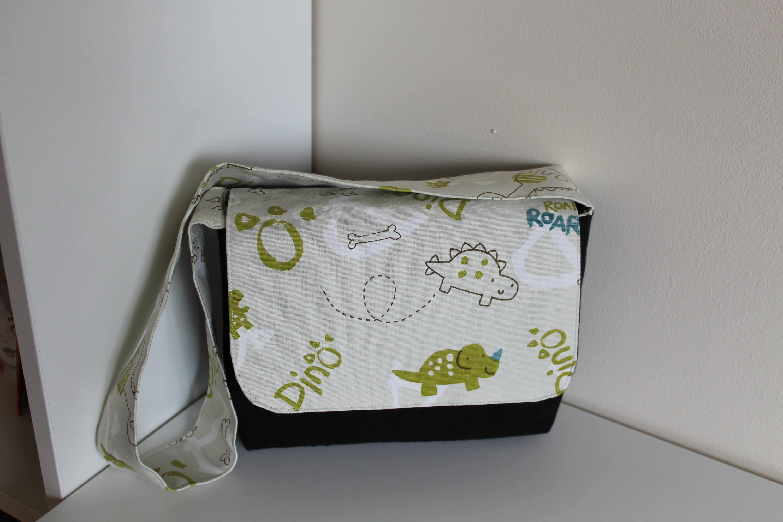 Dinosaur fabric messenger bag for toddler back to school gift starting school present shoulder bag with flap lined bag with pocket
