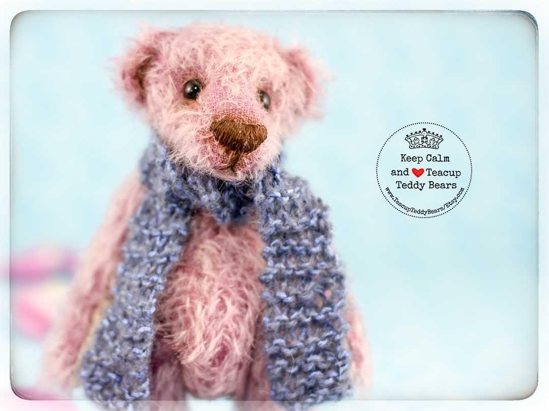 Teddy Bear VIOLET Artist OOAK Mohair Teddy Handmade Bear Love Miniature Teddy Teacup Teddy Plushie Collectible Christmas gift