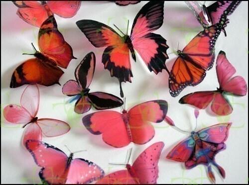 12 x Mixed Red 3D Butterflies