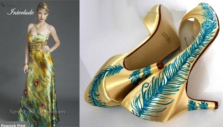 design your own peacock wedding shoes matching dress by