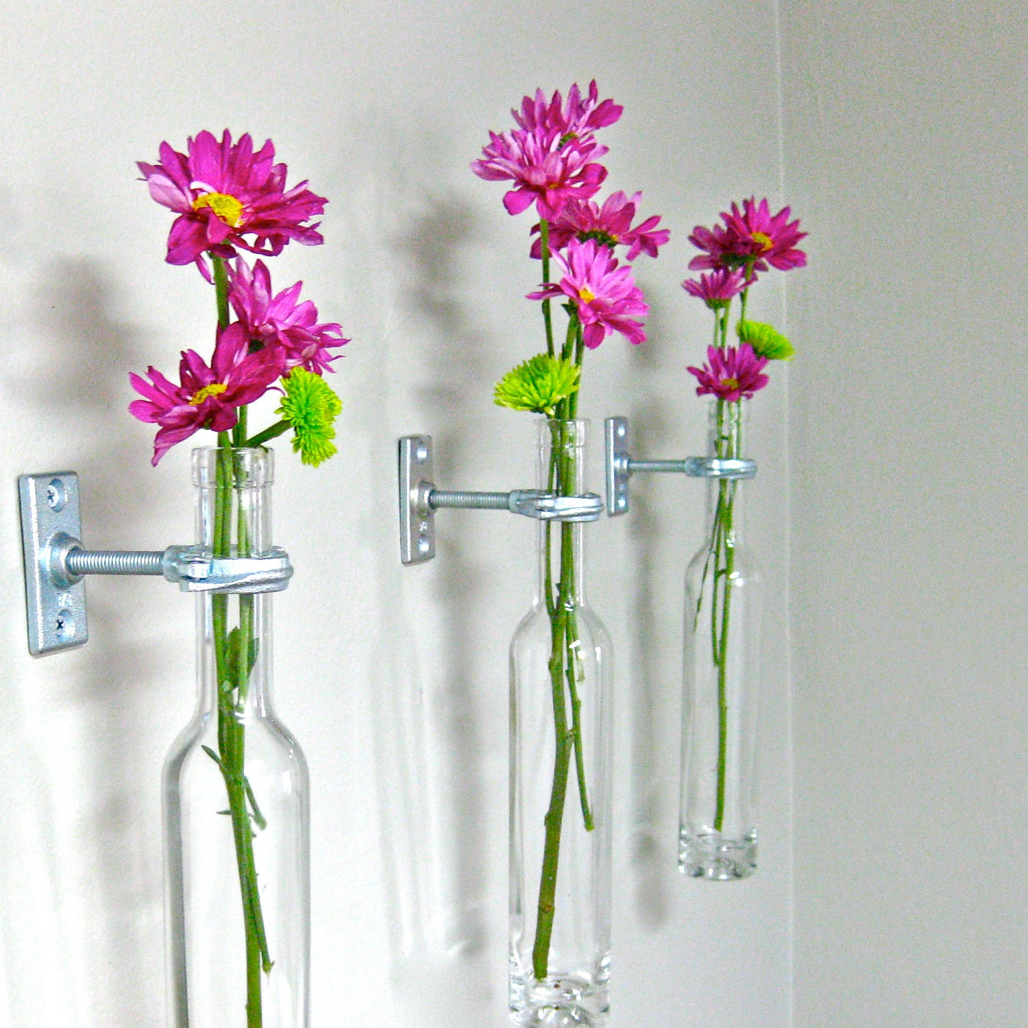 4 Wine Bottle Wall Flower Vases - Wall Sconce - Wall Decor -
