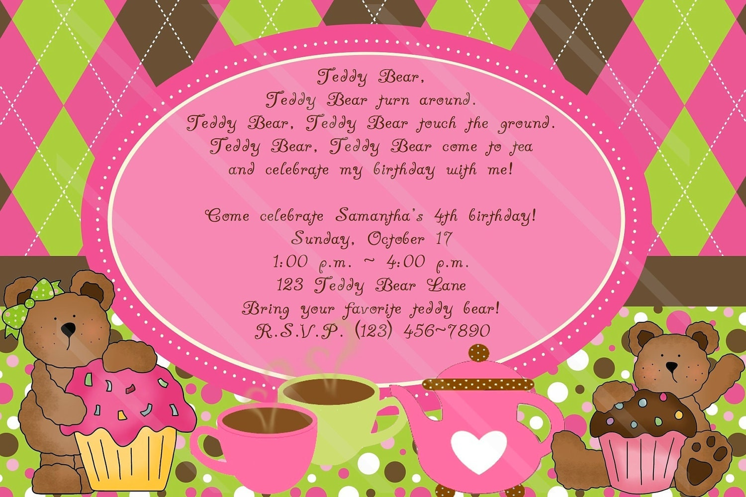 TEDDY BEAR TEA Party Invitation Custom Digital File Girls Birthday or  Shower