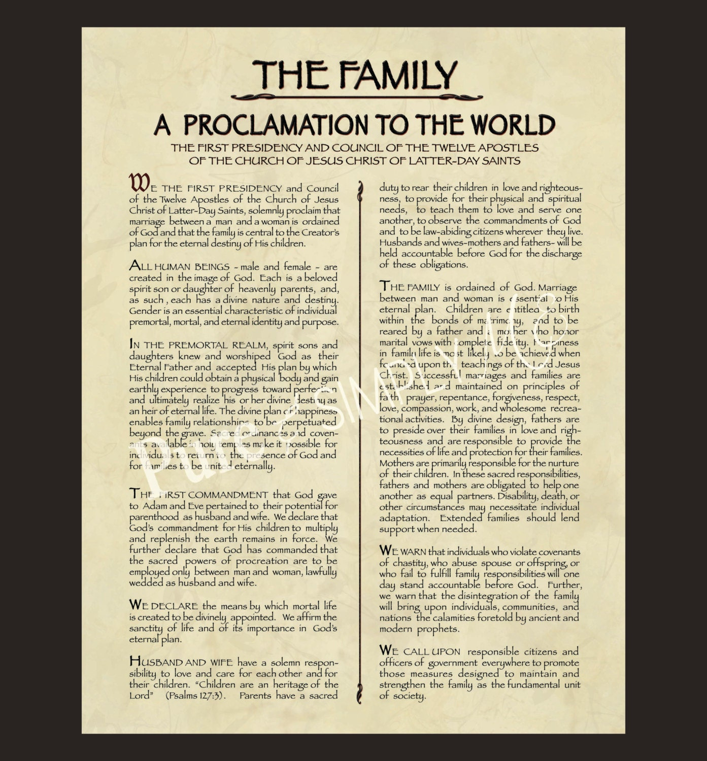 Magic image within family proclamation printable