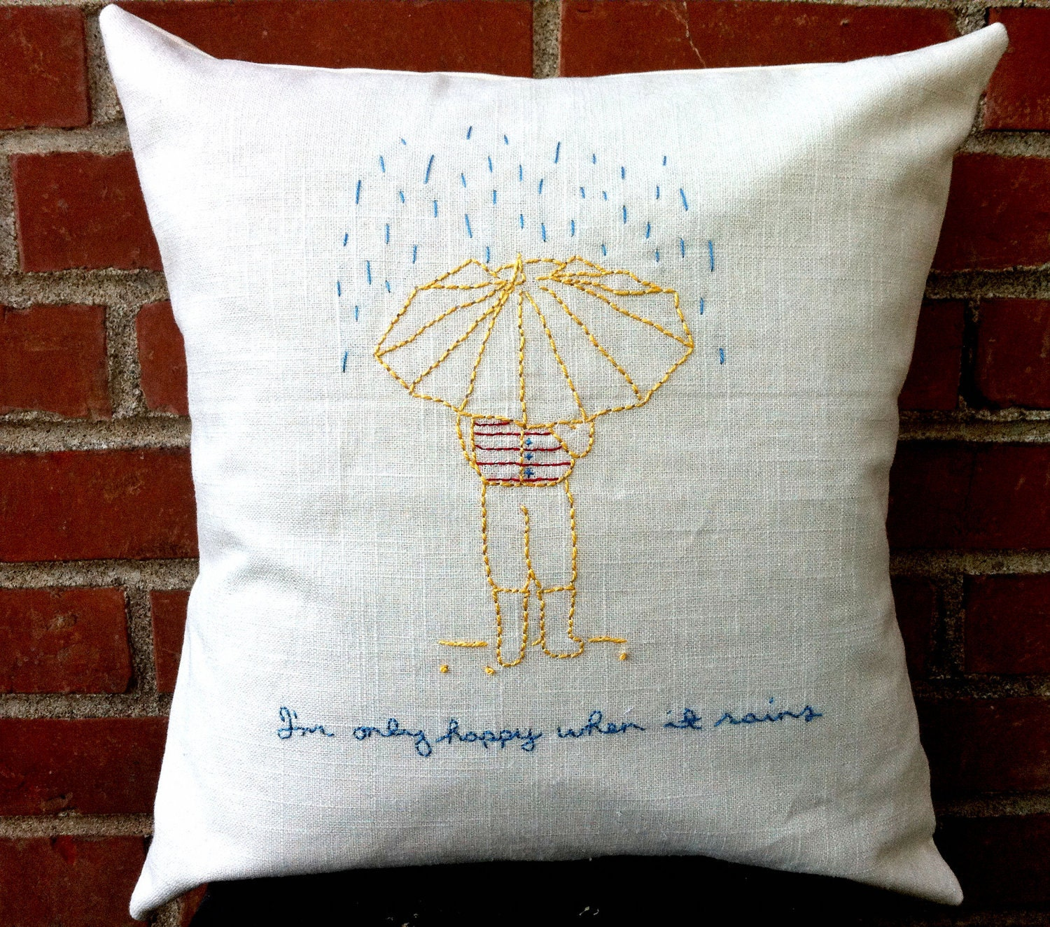 Hand-Embroidered Pillow Cover - April Showers - Accent Pillow Cushion