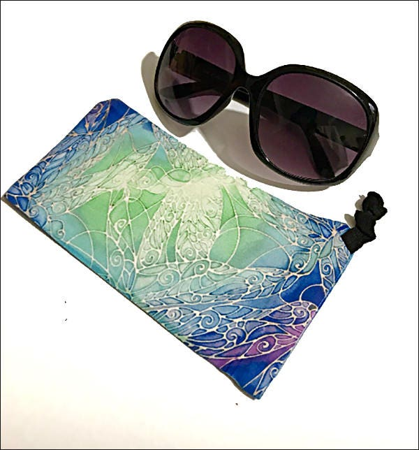 Ocean Dragonfly Sunglasses Case and Lens Cleaner Cloth  Protective Drawstring Glasses Pouch  Washable Fabric in Blue Green  Turquoise